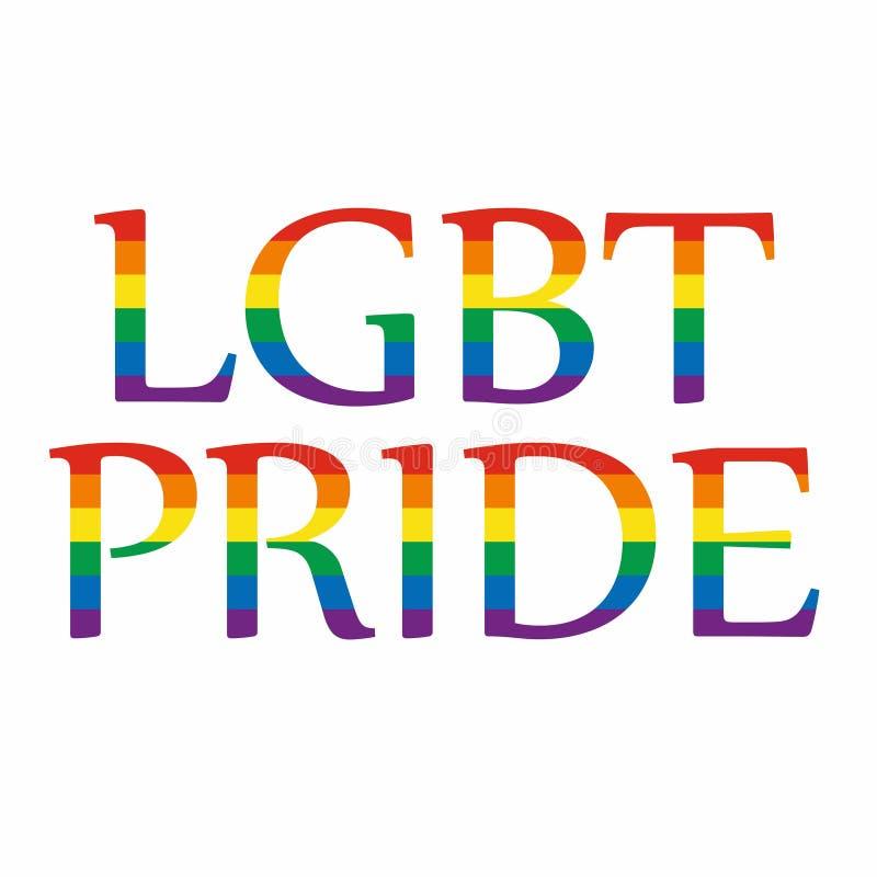 La bandera del orgullo de LGBT o bandera del orgullo del arco iris incluye de la bandera lesbiana, homosexual, bisexual, y del tr ilustración del vector