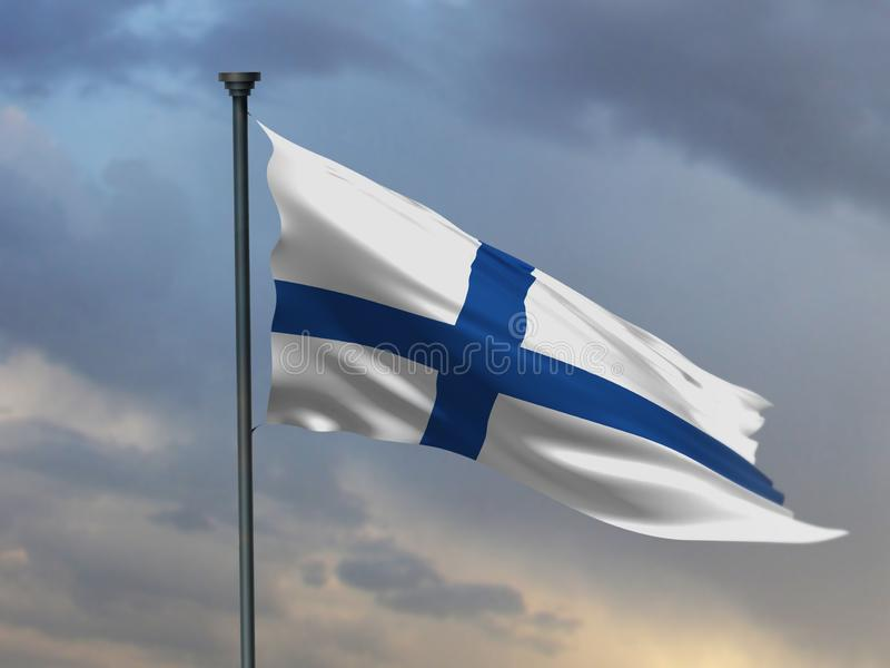 La bandera finlandesa, fondo del color de Finlandia, 3D rinde libre illustration