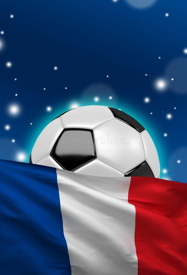 La bandera francesa, balón de fútbol de Francia, fútbol, 3D rinde stock de ilustración