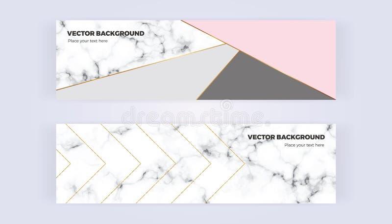 La bandera geométrica en oro, el brillo, el gris, el rosa en colores pastel y el mármol texturizan el fondo Plantilla para los di stock de ilustración