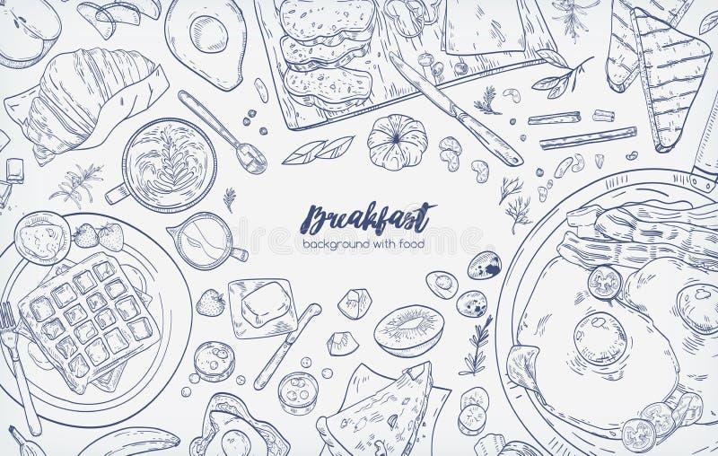 La bandera horizontal monocromática con las diversas comidas sanas de la comida y del desayuno de la mañana da exhausto con las l stock de ilustración