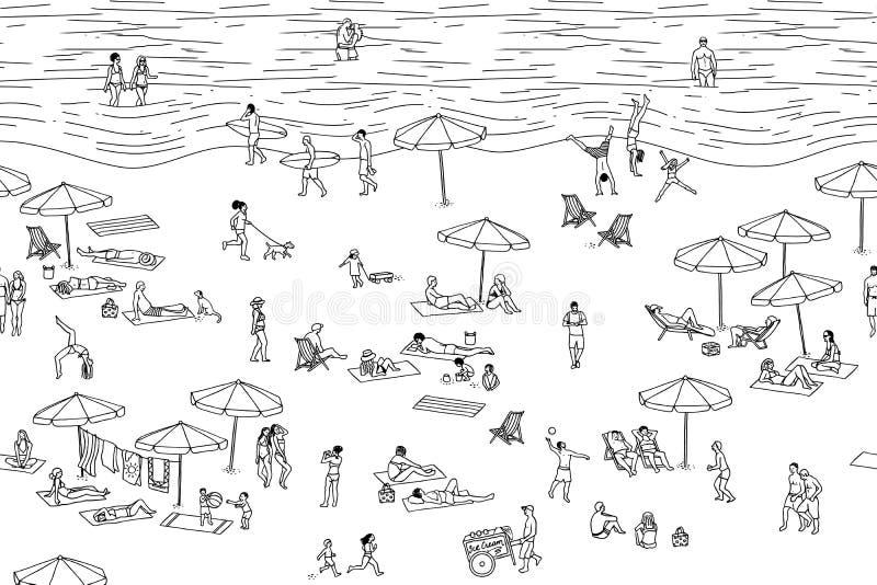 La bandera inconsútil de la gente minúscula en la playa, se puede tejar horizontalmente libre illustration