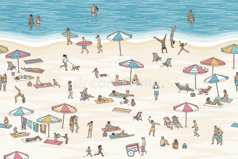La bandera inconsútil de la gente minúscula en la playa, se puede tejar horizontalmente ilustración del vector