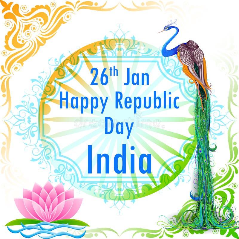La Bandera India Coloreada Adornó El Pavo Real Ilustración del ...