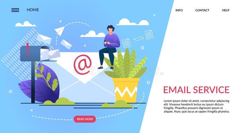 La bandera informativa se escribe el servicio de correo electrónico stock de ilustración