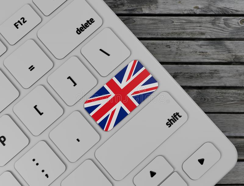 La bandera inglesa entra en dominante en el teclado blanco, en el fondo de madera 3d rinden imágenes de archivo libres de regalías