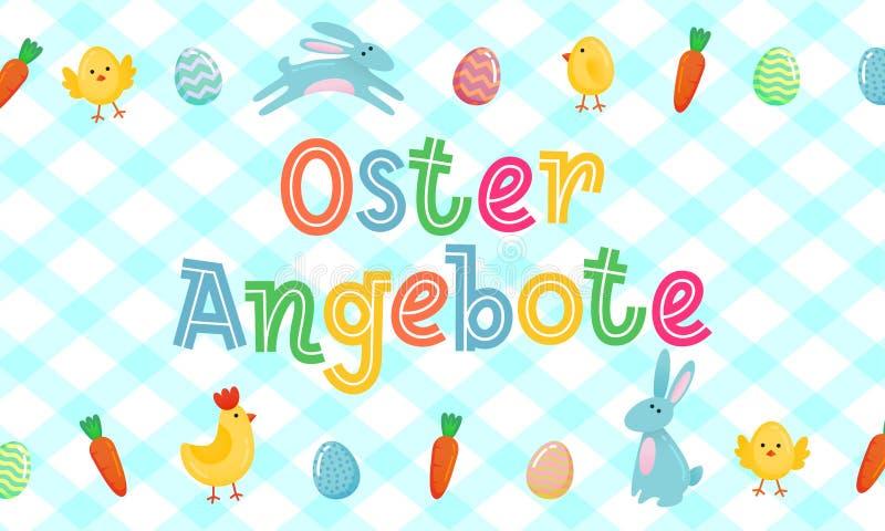 La bandera linda alemana con los huevos adornados coloreados, historieta del vector de la venta de Pascua chiken y Pascua banny,  ilustración del vector