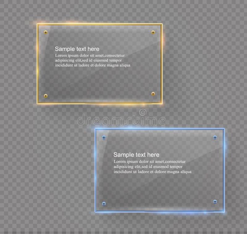 La bandera moderna de cristal del vector fijó con el marco metálico de oro brillante en fondo transparente libre illustration