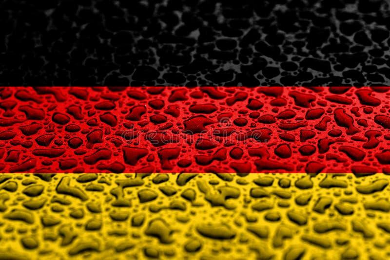 La bandera nacional de Alemania hizo de descensos del agua Concepto del pron?stico del fondo imágenes de archivo libres de regalías