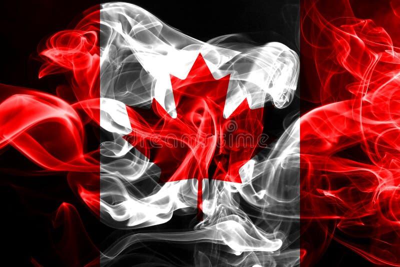 La bandera nacional de Canadá hizo del humo coloreado aislado en fondo negro ilustración del vector