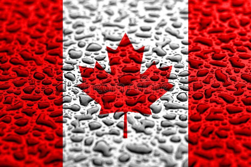 La bandera nacional de Canad? hizo de descensos del agua Concepto del pron?stico del fondo imagen de archivo