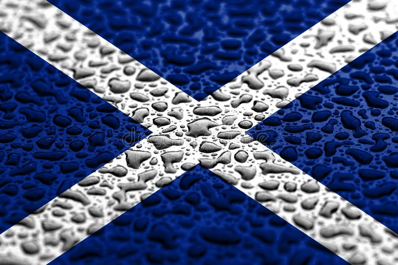 La bandera nacional de Escocia hizo de descensos del agua Concepto del pron?stico del fondo imagen de archivo
