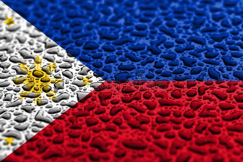 La bandera nacional de Filipinas hizo de descensos del agua Concepto del pron?stico del fondo imagen de archivo