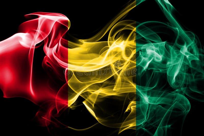 La bandera nacional de Guinea hizo del humo coloreado aislado en fondo negro fotos de archivo