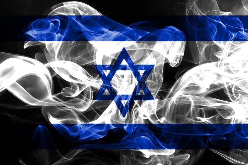 La bandera nacional de Israel hizo del humo coloreado aislado en fondo negro ilustración del vector