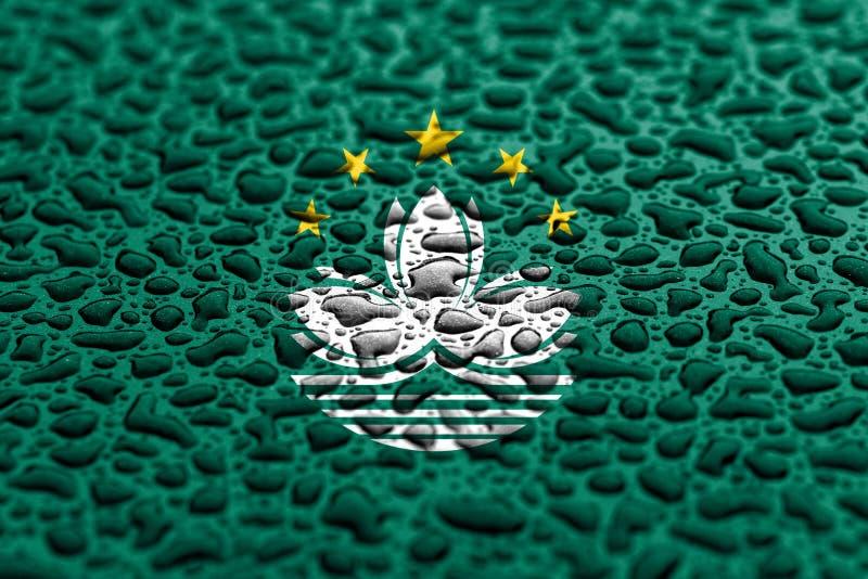 La bandera nacional de Macao hizo de descensos del agua Concepto del pron?stico del fondo imagen de archivo