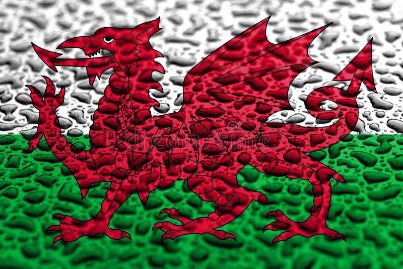 La bandera nacional de País de Gales hizo de descensos del agua Concepto del pron?stico del fondo imagen de archivo libre de regalías