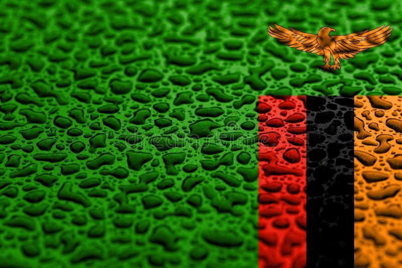 La bandera nacional de Zambia hizo de descensos del agua Concepto del pron?stico del fondo foto de archivo