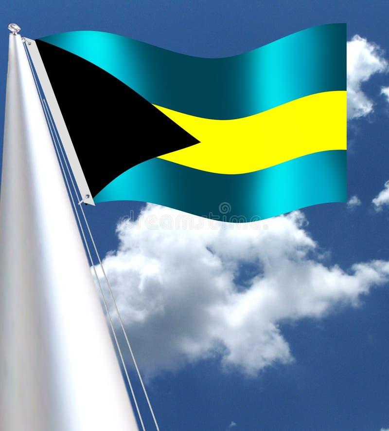 La bandera nacional del país de ISLANDSBahamas del COCINERO en el Caribe stock de ilustración