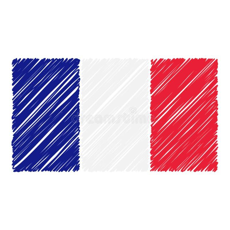 La bandera nacional exhausta de la mano de Francia aisló en un fondo blanco Ejemplo del estilo del bosquejo del vector ilustración del vector