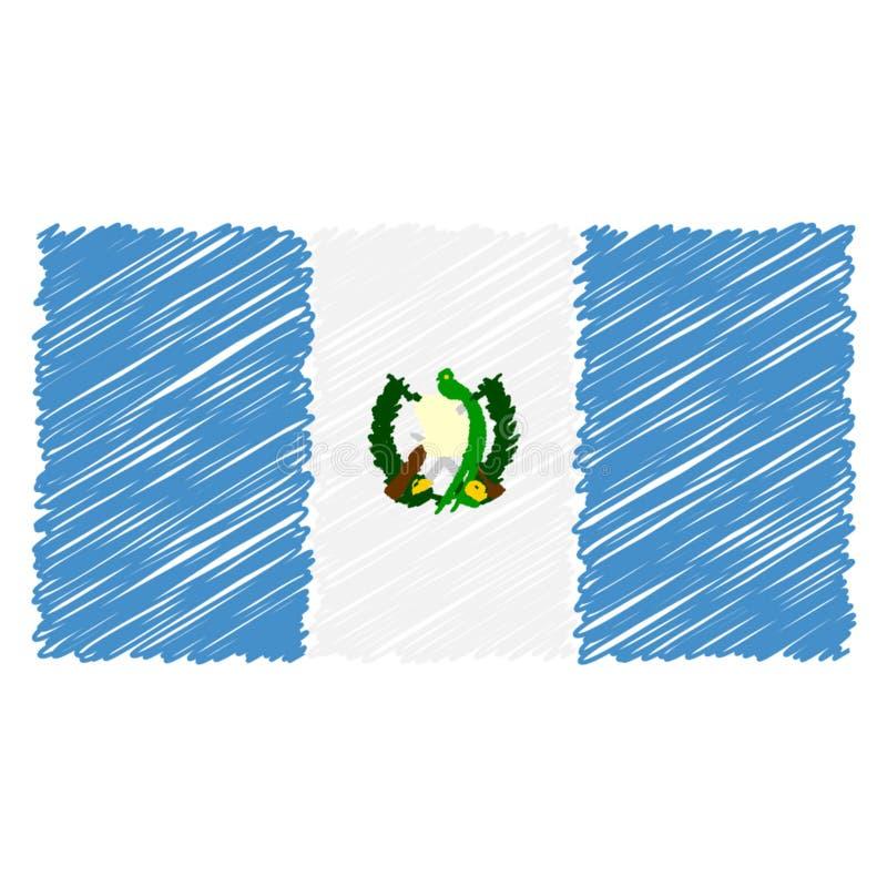 La bandera nacional exhausta de la mano de Guatemala aisló en un fondo blanco Ejemplo del estilo del bosquejo del vector stock de ilustración