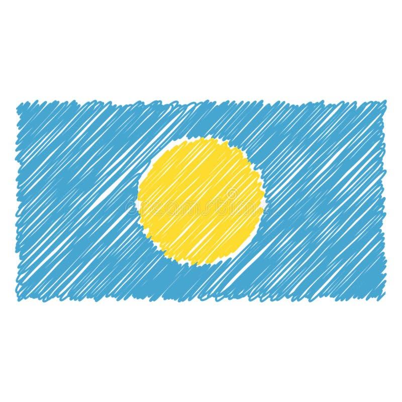 La bandera nacional exhausta de la mano de Palau aisló en un fondo blanco Ejemplo del estilo del bosquejo del vector stock de ilustración
