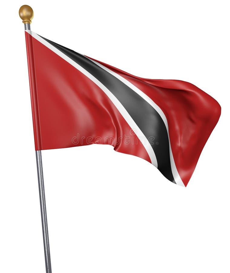 La bandera nacional para el país de Trinidad and Tobago aisló en el fondo blanco, representación 3D libre illustration