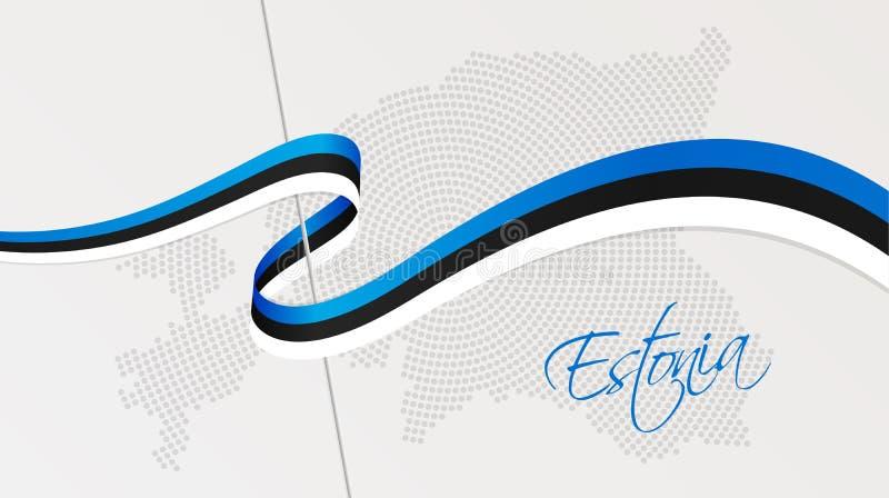 La bandera nacional y la parte radial onduladas puntearon el mapa de semitono de Estonia libre illustration