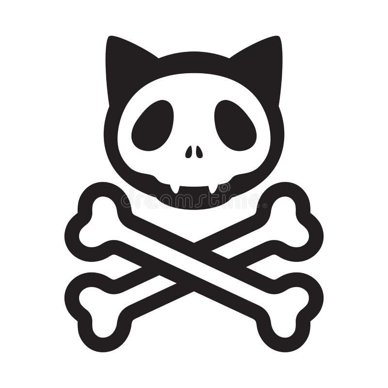 La bandera pirata del cráneo del gato vector símbolo del ejemplo de la historieta del gatito de Halloween del pirata del logotipo ilustración del vector