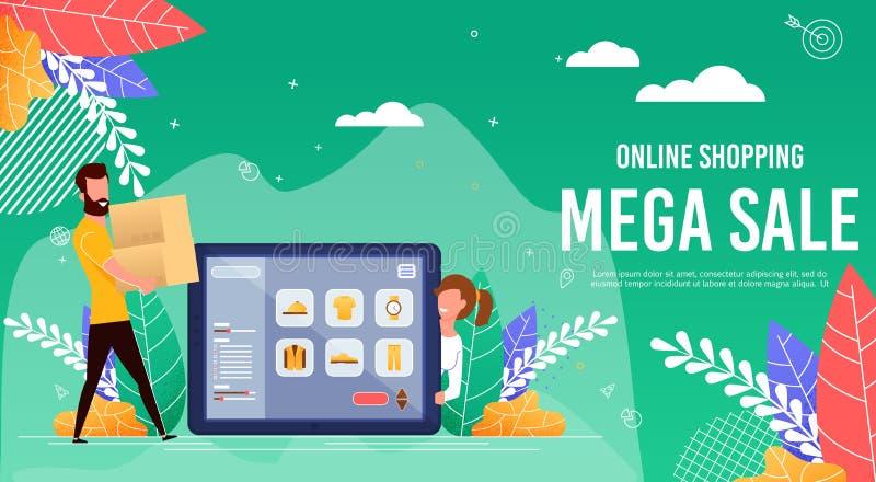 La bandera plana se escribe venta mega en línea que hace compras libre illustration