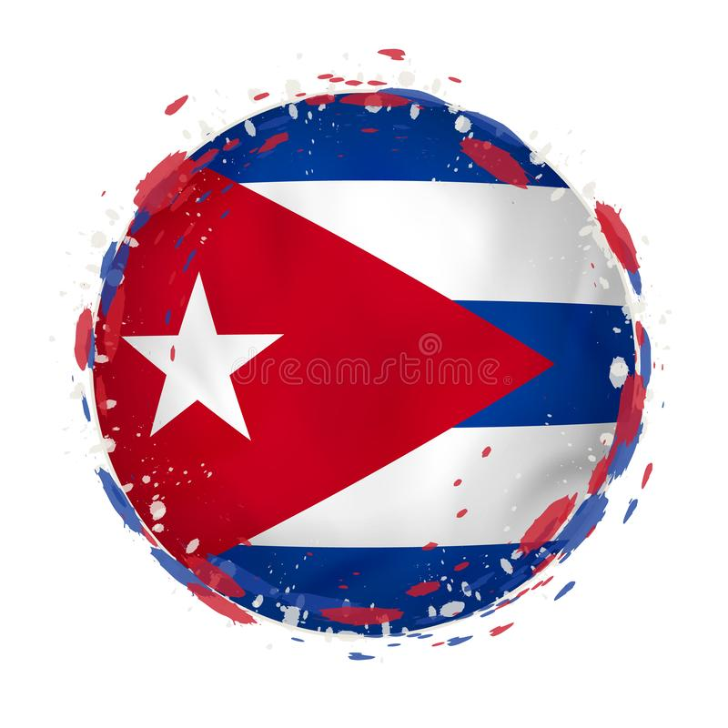 La bandera redonda del grunge de Cuba con salpica en color de la bandera libre illustration