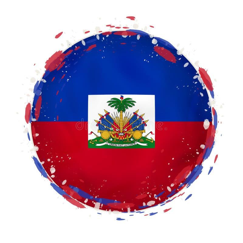 La bandera redonda del grunge de Haití con salpica en color de la bandera stock de ilustración