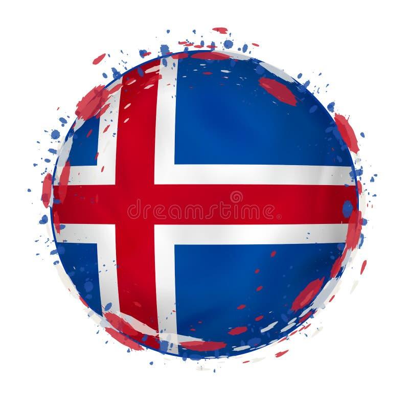 La bandera redonda del grunge de Islandia con salpica en color de la bandera ilustración del vector