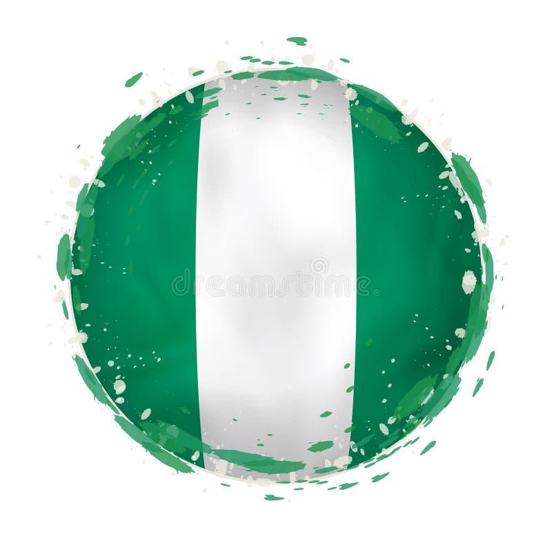 La bandera redonda del grunge de Nigeria con salpica en color de la bandera libre illustration