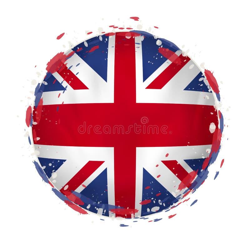 La bandera redonda del grunge de Reino Unido con salpica en color de la bandera stock de ilustración