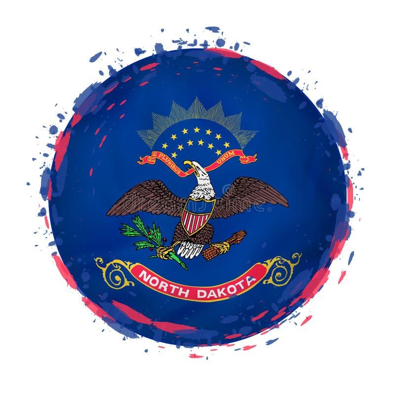 La bandera redonda del grunge del estado de Dakota del Norte los E.E.U.U. con salpica en color de la bandera ilustración del vector