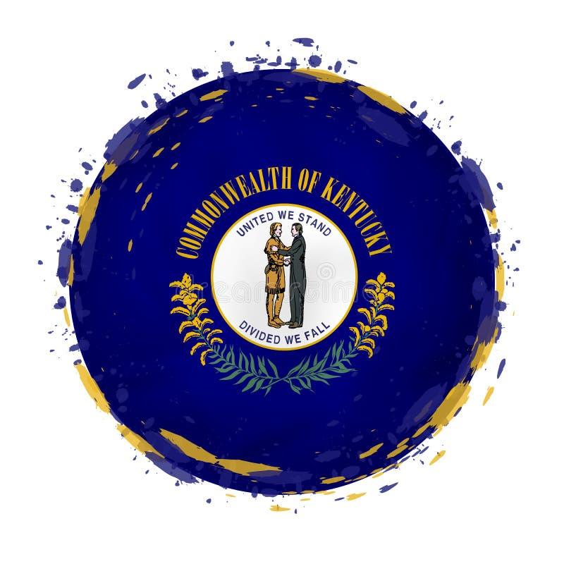 La bandera redonda del grunge del estado de Kentucky los E.E.U.U. con salpica en color de la bandera stock de ilustración