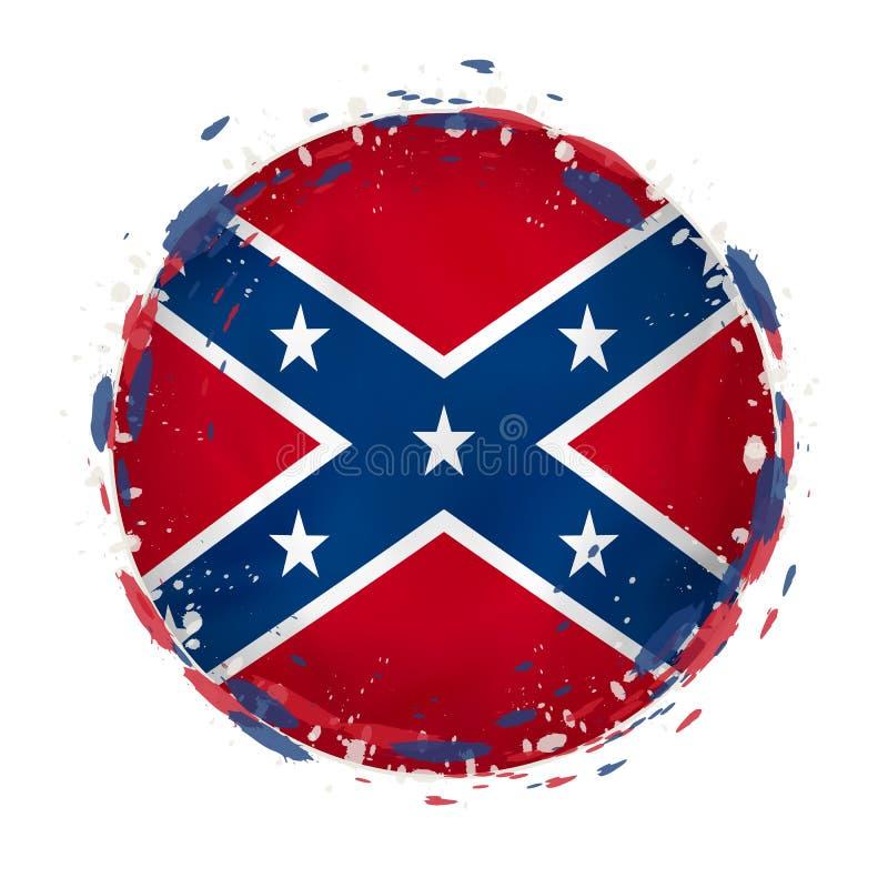 La bandera redonda del grunge del estado de los E.E.U.U. confederado con salpica en color de la bandera libre illustration