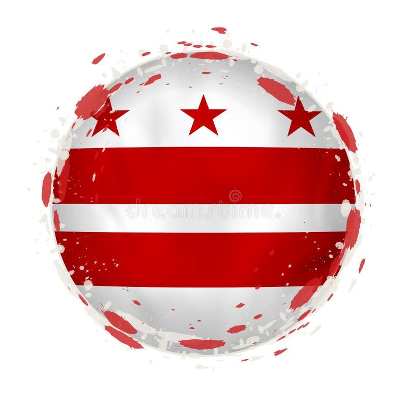 La bandera redonda del grunge del estado de los E.E.U.U. del distrito de Columbia con salpica en color de la bandera libre illustration