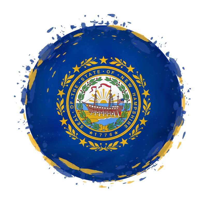 La bandera redonda del grunge del estado de New Hampshire los E.E.U.U. con salpica en color de la bandera libre illustration