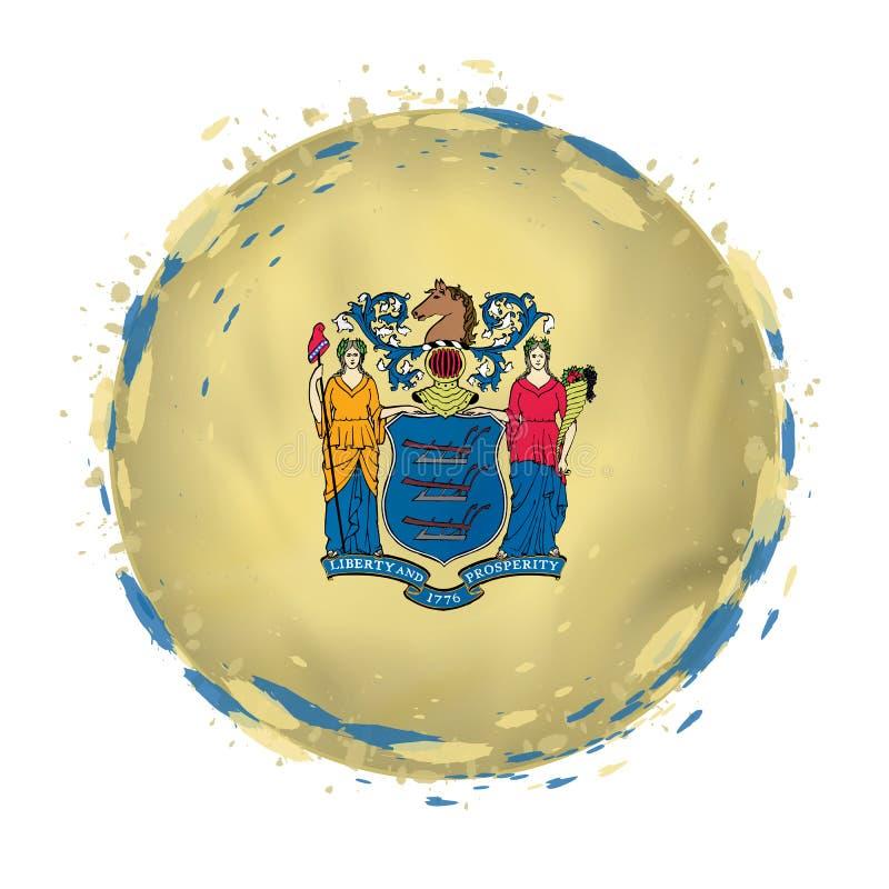 La bandera redonda del grunge del estado de New Jersey los E.E.U.U. con salpica en color de la bandera stock de ilustración
