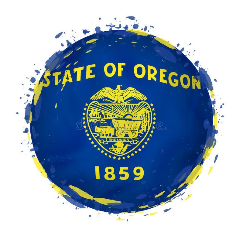 La bandera redonda del grunge del estado de Oregon los E.E.U.U. con salpica en color de la bandera stock de ilustración