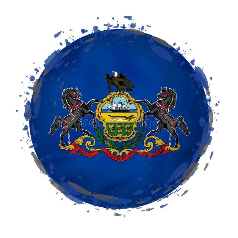 La bandera redonda del grunge del estado de Pennsylvania los E.E.U.U. con salpica en color de la bandera stock de ilustración