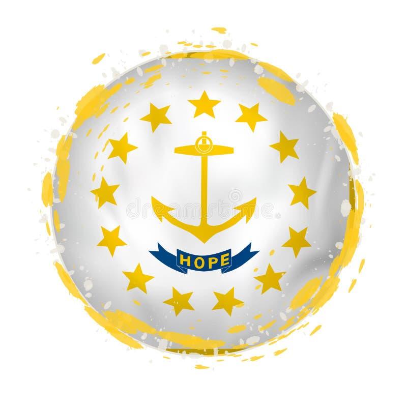 La bandera redonda del grunge del estado de Rhode Island los E.E.U.U. con salpica en color de la bandera libre illustration
