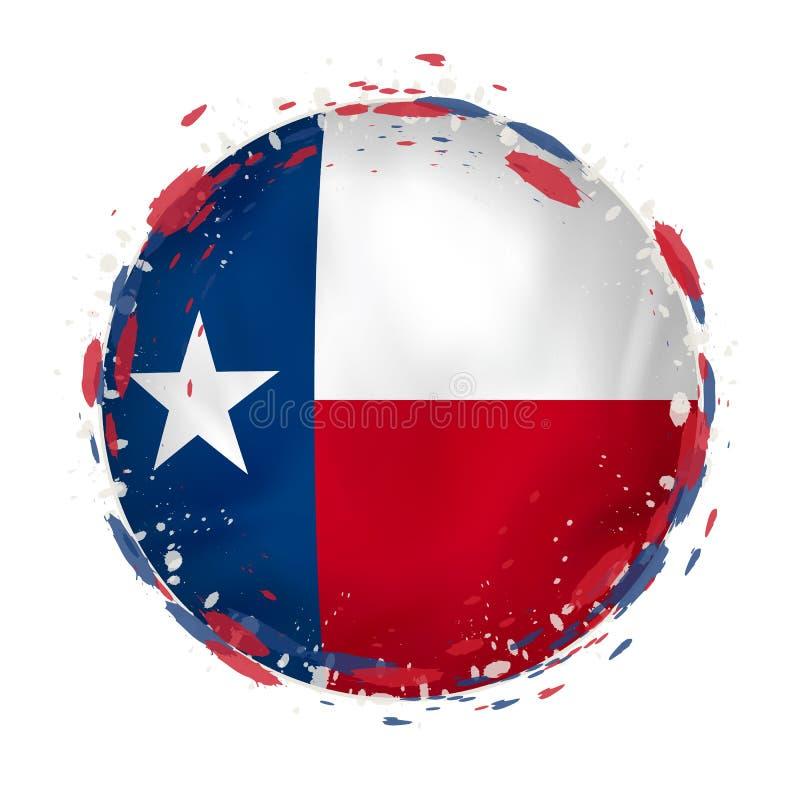 La bandera redonda del grunge del estado de Tejas los E.E.U.U. con salpica en color de la bandera ilustración del vector