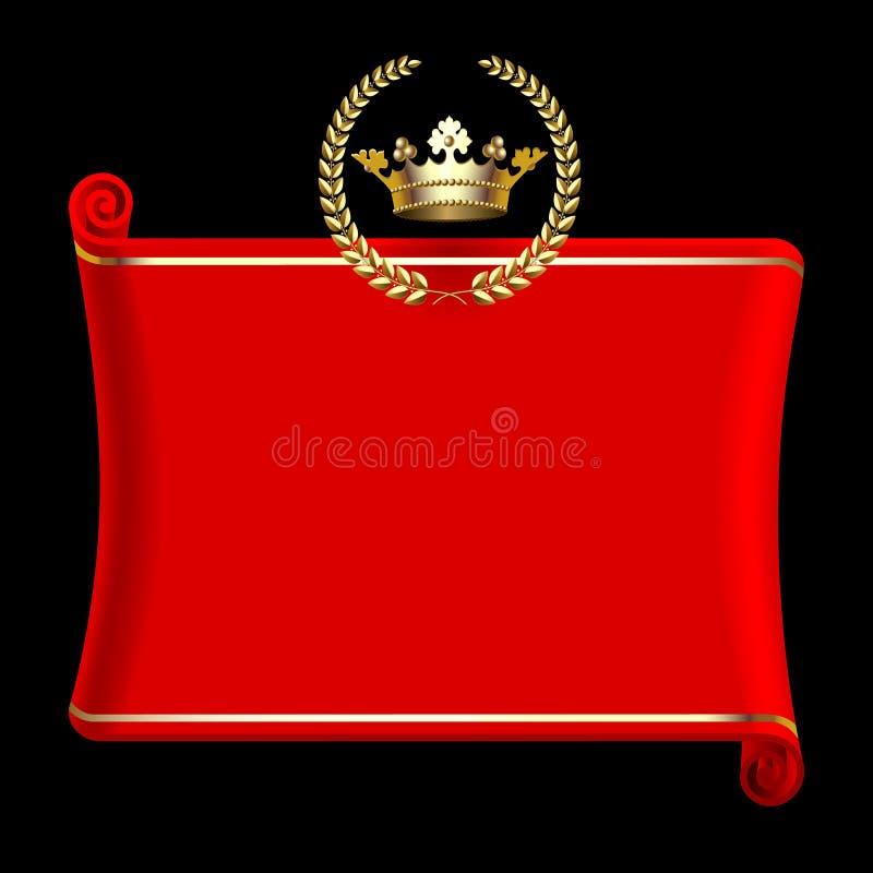 La bandera roja con la corona del oro y el laurel enrruellan en negro ilustración del vector