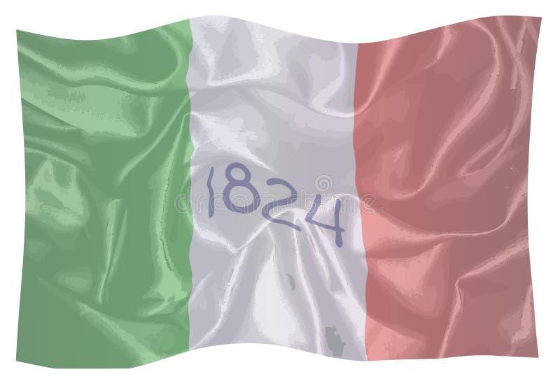 La bandera según lo volado en el Álamo stock de ilustración