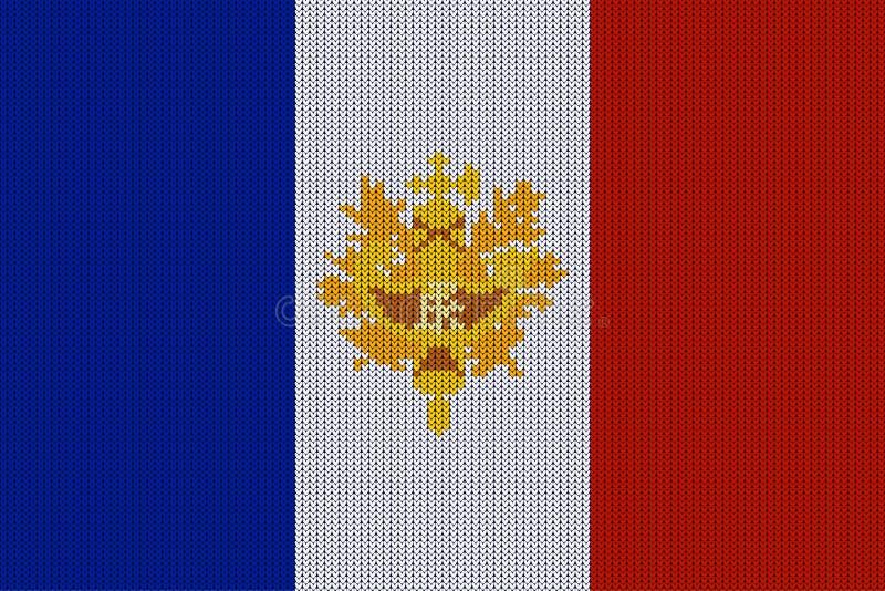 La bandera y el emblema de Francia en vector hicieron punto textura de lana ilustración del vector