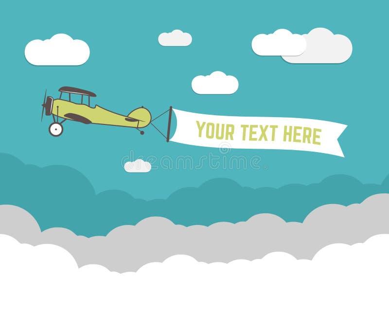 La banderole publicitaire d'avion de vintage et l'infographics de voyage avec la forme vide, affiche pour le texte, slogan, motiv illustration de vecteur