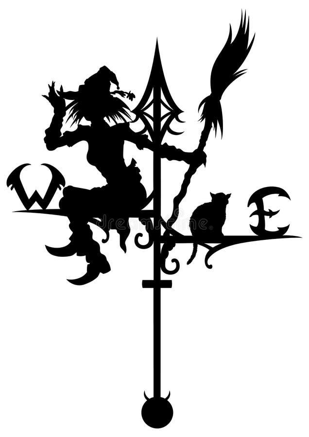 La banderuola di Halloween con le siluette di una strega e di un gatto illustrazione vettoriale